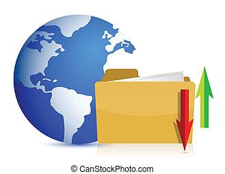全球, 由于, 文件夾, 以及, 箭