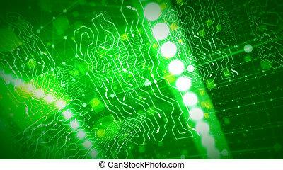 全球, 綠色, 閃耀, 電路板