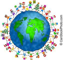 全球, 聖誕節, 孩子