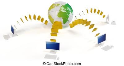 全球, 調動, 概念, 文件, 3d