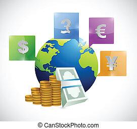 全球, 貨幣, 大約, 插圖