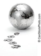 全球, 金属, 隔离, 背景, 白色, 难题