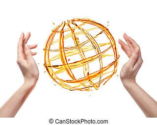 全球, 隔离, 手, 水, 人类, 桔子, 白色