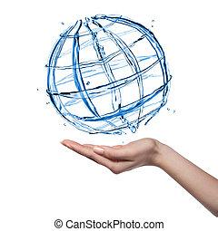 全球, 隔离, 手, 水, 人类, 白色