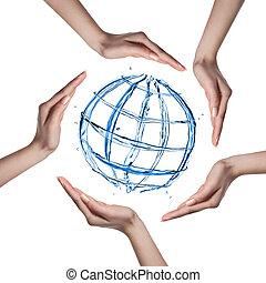 全球, 隔离, 水, 飞溅, 人的手, 白色