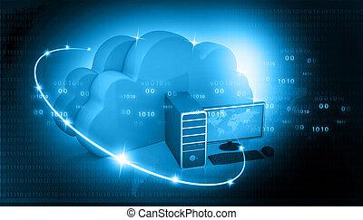 全球, 電腦網路, 由于, 雲, 計算