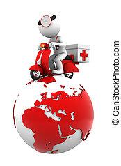 全球, service., 緊急事件, 被隔离