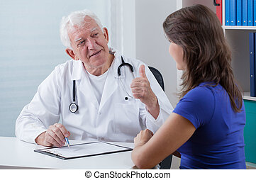 全科醫師, 顯示, 姆指向上