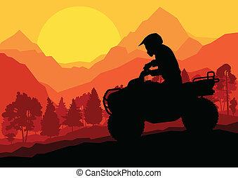 全部, 摩托車, 地形, 矢量, 背景, 車輛, 空鉛, 騎手