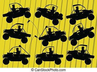 全部, 輕便馬車, 地形, 沙丘, 摩托車, 空鉛, 車輛, illust, 騎手