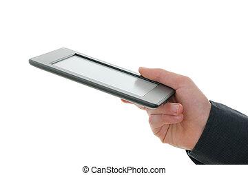 全部, buttons., 剝奪, 商標, 名字, 讀者, e-reader, 手。