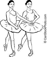 兩個女孩, 站立, 在, a, 對, ......的, 芭蕾舞女演員
