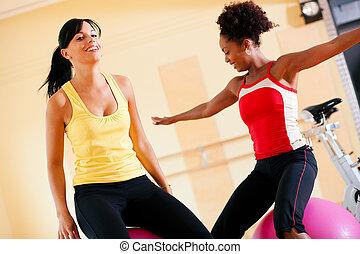 兩個婦女, 由于, 健身 球, 在, 體操