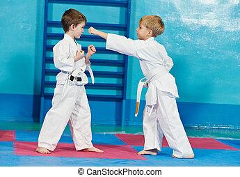 兩個男孩, 做, 空手道, 鍛煉
