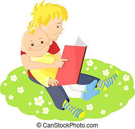 兩個男孩, 坐, 上, a, 綠色的草地, 由于, 懷特花, 以及, 閱讀, a, 書