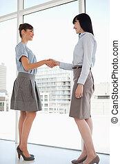 兩個都, 婦女, 微笑, 如, 他們, 握手