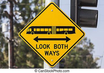 兩個都, 看, 方式, 公共汽車, 簽署, 電車, 警告