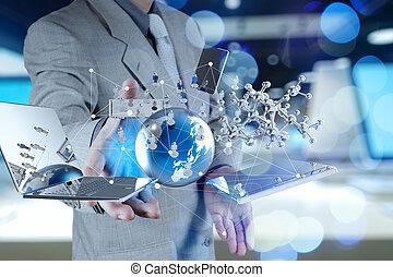 兩次曝光, ......的, 商人, 顯示, 現代的技術, 如, concep