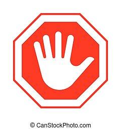 八角形である, 止まれ, 赤, 印, 手