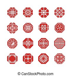 八角形, 装飾, アイコン, 中国語, 日本語, 韓国語, 円, ベクトル, セット