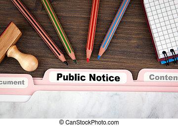 公共の通知, concept., フォルダー, 記録, 上に, a, 暗い, 木製の机