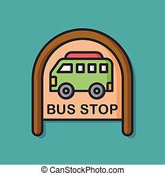 公共汽車站, 簽署, 矢量, 圖象