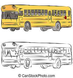 公共汽車, 學校, 線描