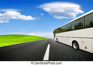公共汽車, 春天, 旅行