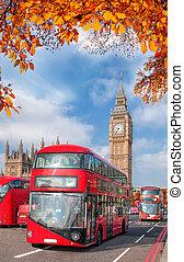 公共汽車, 由于, 秋季离去, 針對, 大本鐘, 在, 倫敦, england, 英國