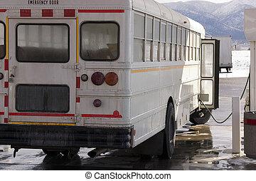 公共汽車, 白色, 气体, 學校, 抽