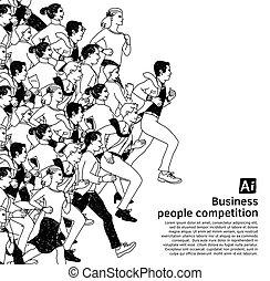 公共汽车, 人们, 大, 团体, 竞争, 黑色