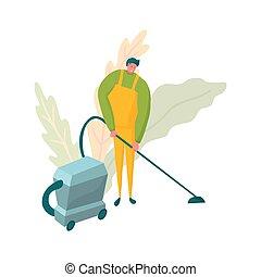 公司, 工人, 植物群, 打扫, 真空, claener, 背景。