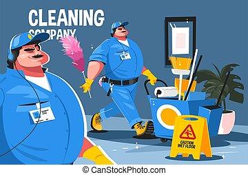 公司, 打扫, 服务
