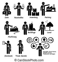 公司, 资产, 商业, pictogram