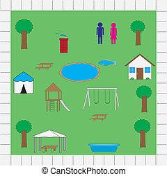 公园, 地图, 图标, 矢量, 包