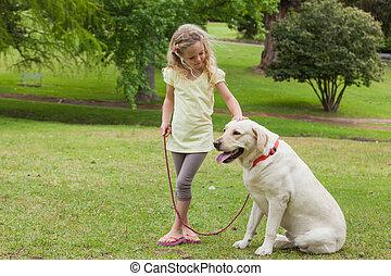 公园, 宠物, 女孩, 狗, 年轻