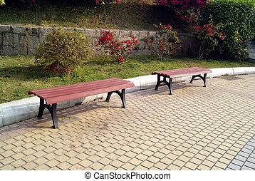 公园, 广场, 凳子, 空闲