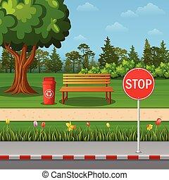 公园, 景色, 带, 停止签署, 在上, 镇, 路旁, 同时,, 长凳