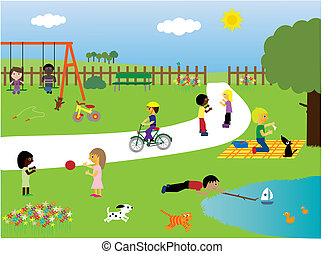 公园, 玩, 孩子