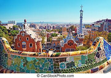 公园, guell, 在中, 巴塞罗那, -, 西班牙