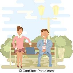 公園のベンチ, 恋人