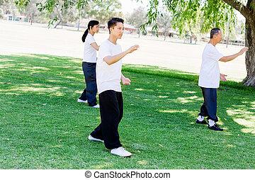 公園, χ, タイ人, 練習する, 人々