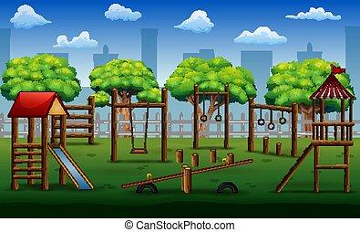 公園, おもちゃ, 子供, 運動場, 都市