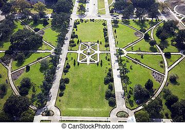 公園, の前, 州国会議事堂ビル, 中に, バトン・ルージュ
