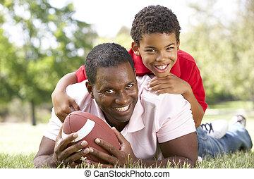 公園, アメリカン・フットボール, 父, 息子