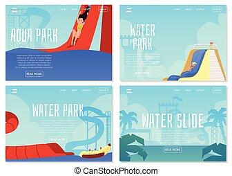 公園, ウェブサイト, アクア色, 旗, set., ページ, 水, 娯楽, 子供
