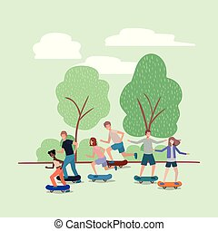 公園, グループ, スケートボード, 人々