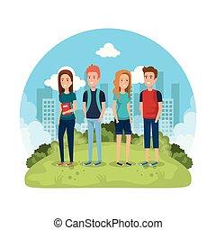 公園, グループ, 人々
