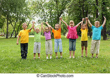 公園, グループ, 子供
