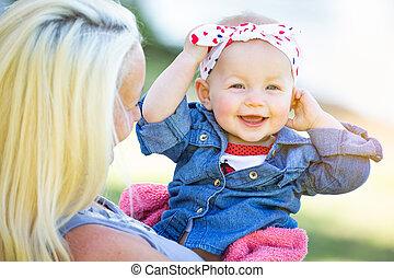 公園, コーカサス人, 娘, 若い, 母